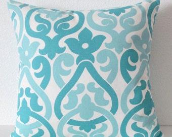 Coastal blue throw pillow cover - blue  lattice accent pillow cover
