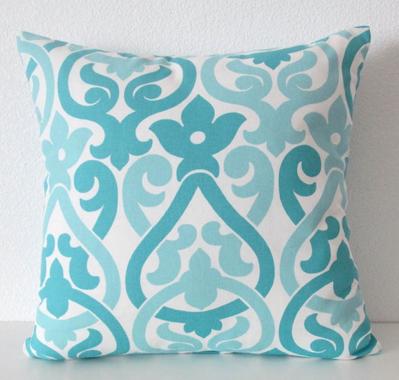 Coastal blue Pillow Cover Lattice by vintagechicdecor on Etsy