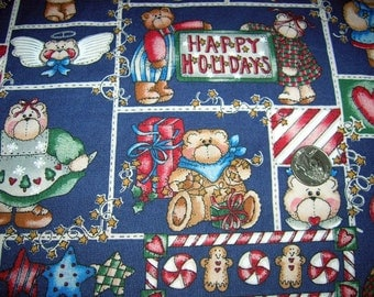 CHRISTMAS FABRIC, Bears/Gingerbread/Stars, Sold in 1 Yard Increments