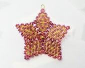 Star Christmas Ornament Tree Decoration in rose pink and  gold peyote stitch with custom hanger Russian Faberge style filigree