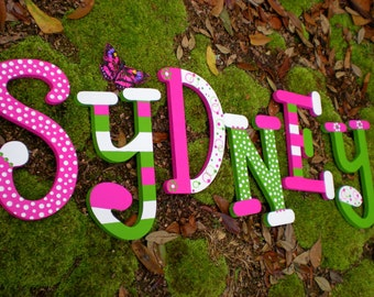 Kids Name Letters - Painted Wall Letters - Set of 6 Letters - Whimsical Font