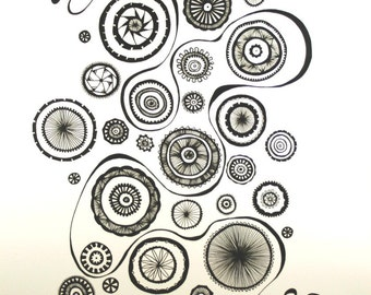 Gears II . Original Abstract Pen Drawing . Black and White Art . Abstract Lines and Circles Drawing . Geometric Art