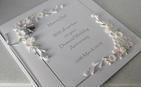 60th diamond wedding anniversary card personalised handmade