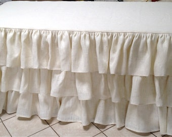 Ivory Burlap Ruffle Tablecloth