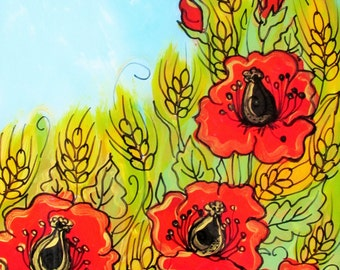 Sale, Glass painting, Fields of Wheat and Poppies