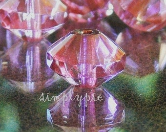 CHUNKY Pink Bronze Lumi Rivoli Czech Beads 13x9mm 4 Pcs Glass Saucer