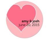 Personalized Stickers - Custom Wedding Labels - Modern Stickers - Heart  Labels - Personalized Favor Stickers - Wedding Stickers