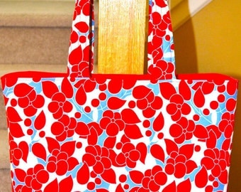 Red Tote Bag / Floral diaper bag / baby bag / handmade diaper bag - Red Floral -