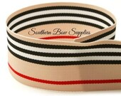 7/8 inch Grosgrain Ribbon-------3 YARDS-----Stripes-----Red Black White Tan------Hair bow Making Supplies