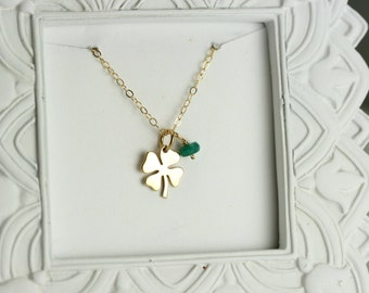 Four Leaf Clover Necklace - Gold Lucky Charm Necklace - Gold and SIlver Four Leaf Clover Birthstone Necklace - Good Luck Charm Necklace