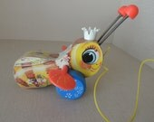 Collectible 1958 Queen Buzzy Bee Fisher Price Pull Toy. Wood Vintage Fisher Price Buzzy Bee Child's Toy
