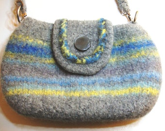 Felted purse with flap in gray, blue, and yellow variegated stripe  - lined with zipper pockets