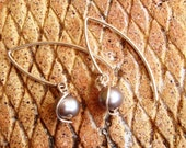 Wire Wrapped Blue Fresh Water Pearl Sterling Silver Earrings ~~Wedding / Bridal Party Jewelry