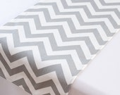 Light gray chevron table runner - Bridal shower - Wedding table runner- Kitchen table -Dining table - Baby shower - Table decor