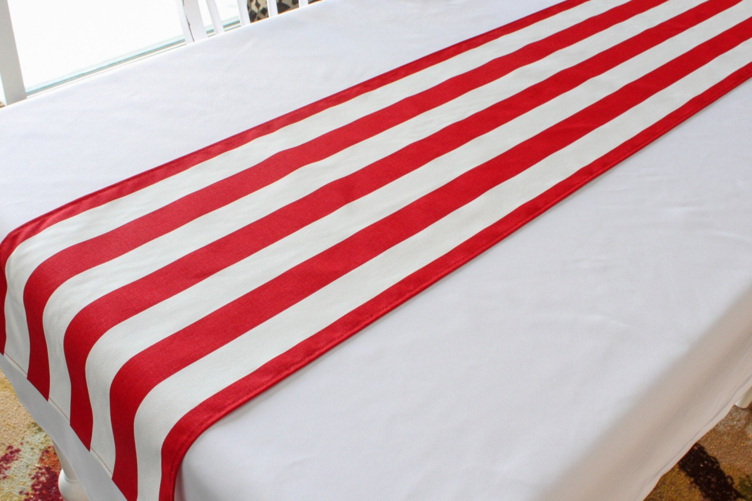 red and white striped table runner choose length patriotic. Black Bedroom Furniture Sets. Home Design Ideas