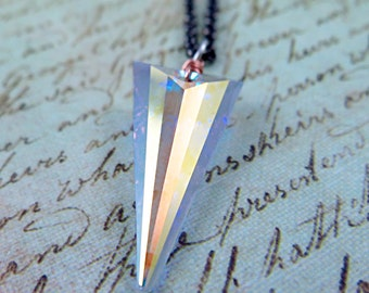 Swarovski Crystal Spike Necklace Spike Pendant Triangle Necklace Gunmteal Rose Gold Long Necklace Statement Jewelry Glam Rock