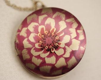 Chrysanthemum Mum Pink Flower Locket Necklace, Long Necklace Large Pendant, Peony Jewelry, Flower Pink Jewelery, Round Locket