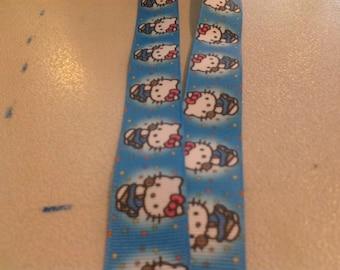 Hello Kitty on Blue / Turquoise Background Lanyard Badge, ID holder 241141