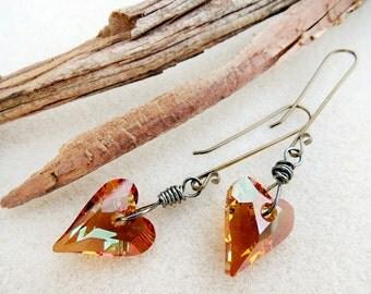 Wild Heart Swarovski Earrings, Crystal Copper Topaz, Niobium Non-allergenic Ear Wires, Hypoallergenic, Sensitive Ears, Handmade Jewelry