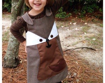 Toddler Girl Autumn Brown Houndstooth Jumper ready to ship
