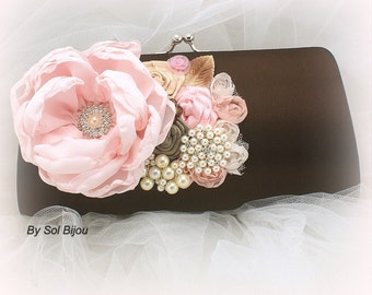 Clutch,Pink,Blush,Brown,Champagne, Ivory,Chocolate, Bridal, Handbag, Elegant Wedding, Vintage Style, Maid of Honor, Pearls, Crystals, Brooch