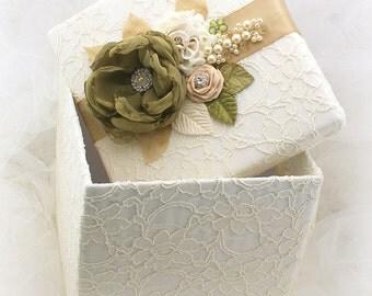 Keepsake Box, Wedding Keepsake Box, Ivory, Olive Green, Tan, Beige, Champagne, Gift Box, Elegant, Vintage Style, Lace, Pearls, Crystals