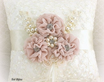 Ring Bearer Pillow, Wedding, Ivory, Cream, Silver, White, Blush, Lace, Crystals, Pearls, Vintage, Elegant, Gatsby