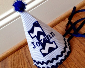 "Boys 1st Birthday Hat, Boy's Birthday Hat, Birthday Hat - Light Blue/Navy Blue - The ""Jordan"""