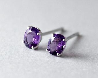 50% OFF White Gold Purple Amethyst Studs - Oval Cut - Post Earrings, February Birthstone