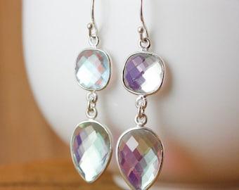 Silver Mystic Quartz Earrings - Colorful Quartz - 925 Silver