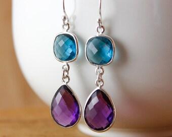 Silver Purple Amethyst & Blue Quartz Earrings - Teardrop Earrings