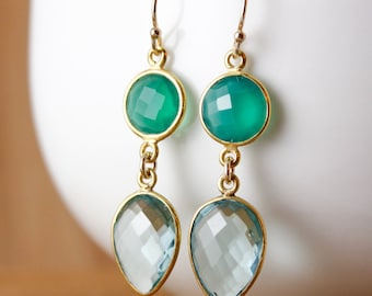 Gold Green Onyx & Aqua Quartz Earrings - Bridesmaids Earrings - Winter Weddings