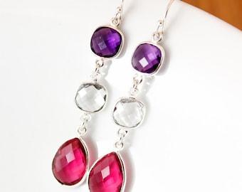 Silver Purple Amethyst, Crystal Quartz, Red Ruby Quartz Earrings - Gemstone Earrings - 925