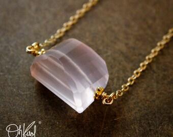 Gold Pink Rose Quartz Tumbler Necklace - 14K GF - Free Form Pendant