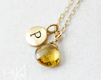 Gold Yellow Citrine Necklace - November Birthstone - Initial Necklace