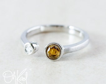 Auburn Yellow Tourmaline Ring - Diamond Ring - Dual Gemstone Ring
