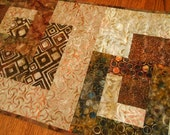 Quilted Batik Table Runner in Rich Browns Rust and Cream