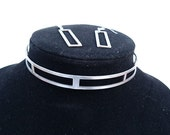 Choker with Matching Earring, Metal Steel, Rectangle Perforation