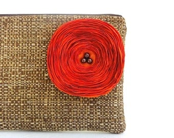Chocolate Brown Clutch Handbag with Orange Satin Flower - READY TO SHIP