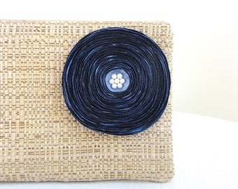 Tan Woven Clutch Handbag / Dreamy Ocean Blue Satin Flower - READY TO SHIP