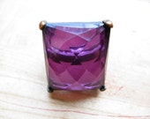 huge jewel statement ring 70s purple stone jewel cocktail ring amethyst statement