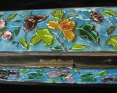 Enamel on Brass LONG Stamp Box, 3 Compartments, from China