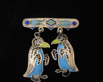 Filigree Penguins in Sterling Silver with Enamel, Portugal