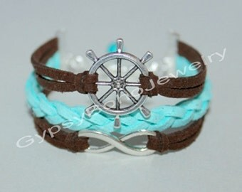 Custom Pick COLOR / SIZE - Silver Nautical Rudder  Charm Bracelet -  Microfiber Faux Suede Leather Cord  Made In   USA  012