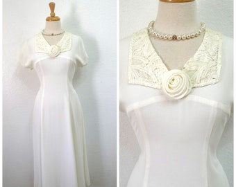 Vintage White dress by Wild Rose 1980s  bridal  Engagement, Graduation Cocktail gown