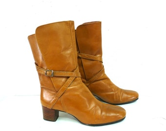 Vintage Tan Leather Boots  Straps buckle Boots Made in Brazil Women 8.5