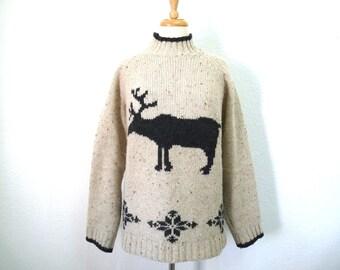 Vintage Sweater Nordic Moose pattern Wool Islandic Eddie Bauer Size L/G