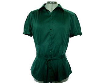 Elegant vintage blouse in dark clover green.  Danish design.