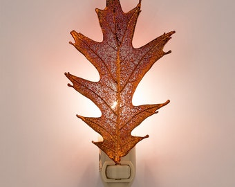 Real Pointed Oak Leaf Dipped In Irridescent Copper Nightlight  - Irridescent Copper Leaves