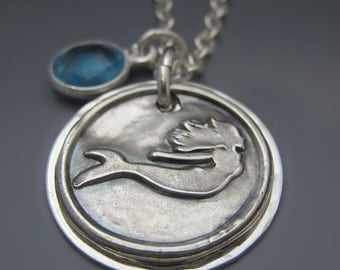 Custom Sterling Silver I'd rather be a Mermaid Necklace / Fine Silver Mermaid Pendant / Gifts for Her / Beach Jewelry / Mermaid Charm